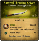 Survival Throwing Knives Card