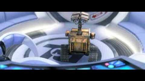 Wall-E and Eve escape from the Axiom ship