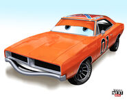 What General Lee from Dukes of Hazzard would look like as a Pixar Cars character