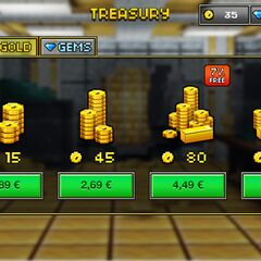 The current look of the shop, with coins and gems.