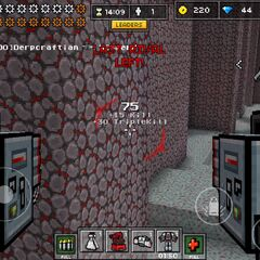 The first person view of a mech, note the health icon is now replaced with gears.