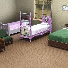Krzesła i łóżka.