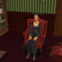 Kasandra na fotelu w salonie