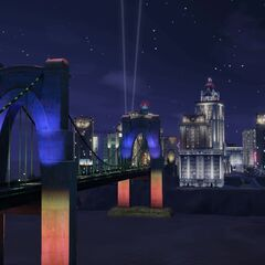 W nocy Bridgeport jest rozświetlone kolorowymi światłami