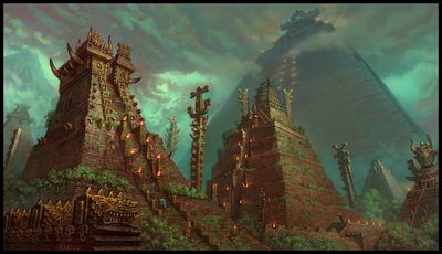 1256x723 4651 Temple City 2d architecture temple mist jungle lizard pyramid mayan fantasy picture image digital art