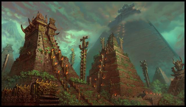 File:1256x723 4651 Temple City 2d architecture temple mist jungle lizard pyramid mayan fantasy picture image digital art.png