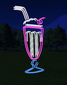 MilkShake Neon Sign at night