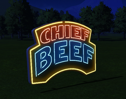 Chief Beef Neon Sign at night