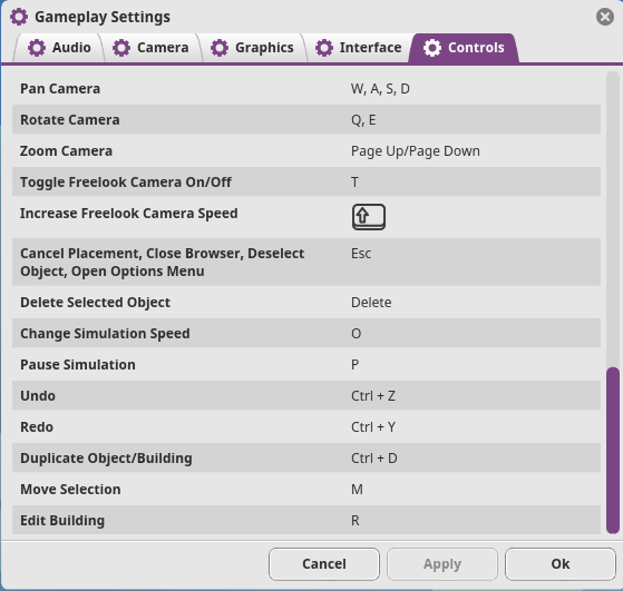 Planet Coaster Gameplay Settings General Shorcuts2
