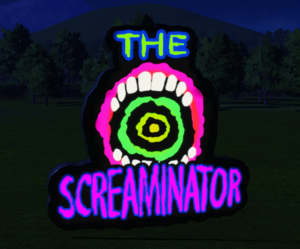 Ride Sign - The Screaminator at night