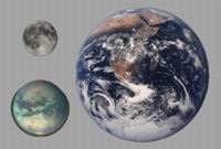 Titan compared to Earth and Moon