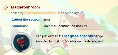 Drek-Magnetshroom badge when editing Magnetshroom page