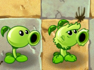 File:Primal Peashooter along with it's modern counterpart.jpeg