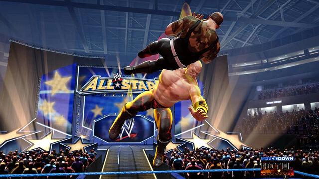 File:Kane chokeslams Sgt Slaughter at All Stars Arena.jpg
