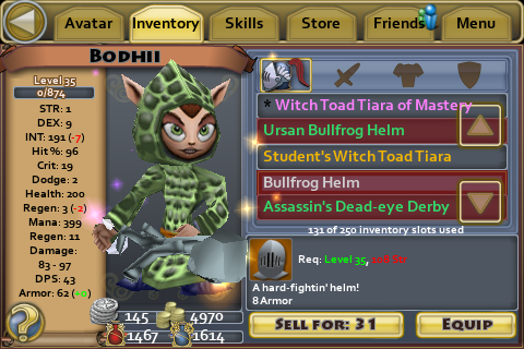 Bullfrog helm