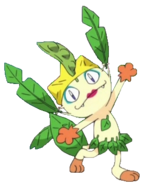 Meowth dressed as Leafeon