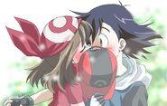 Ash and may kissing