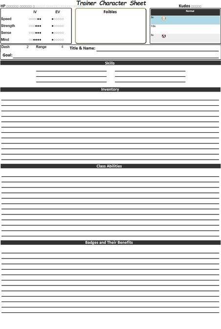 Trainer Character Sheet