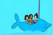 Lila, Shani, and Anna Dolphin ride