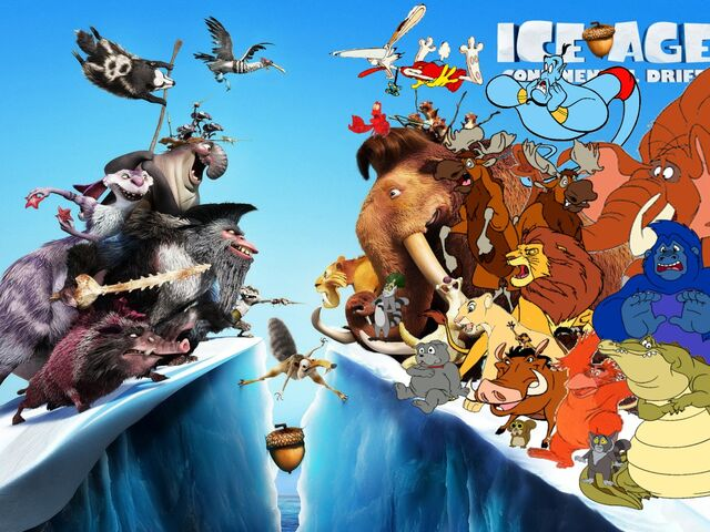 File:Simba Timon and Pumbaa's adventures of Ice Age 4 Poster.jpg