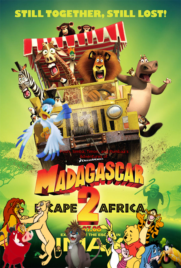 Pooh, Simba, Timon, and Pumbaa's Adventures of Madagascar Escape 2 Africa poster