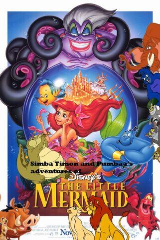 File:Simba Timon and Pumbaa's adventures of The Little Mermaid Poster.jpg