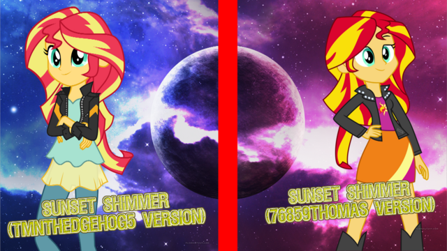 File:Sunset Shimmer (Different Versions).png
