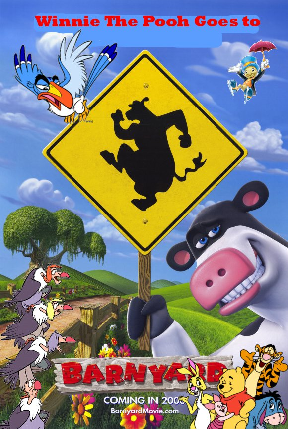 Winnie The Pooh Goes to the Barnyard Poster