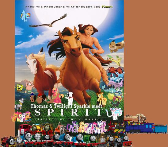 File:Thomas & Twilight Sparkle meet Spirit Stallion of the Cimarron.png