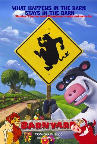 File:Simba Timon and Pumbaa's adventures in Barnyard poster.jpg