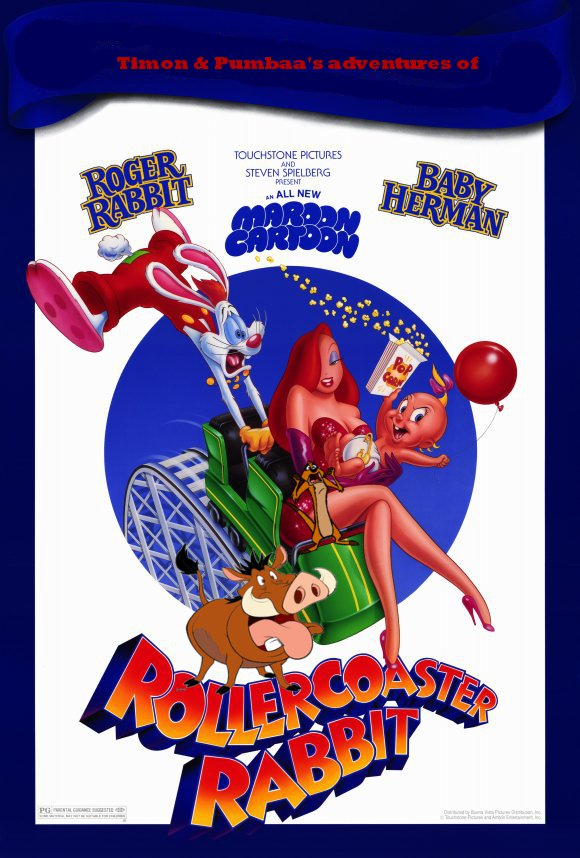 Timon and Pumbaa's adventures of Rollercoaster Rabbit Poster