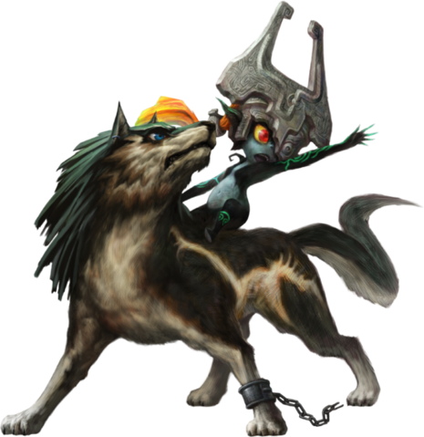 File:TPHD Wolf Link and Midna Artwork.png