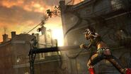 Nix (InFamous 2) throws her Napalm Grenade