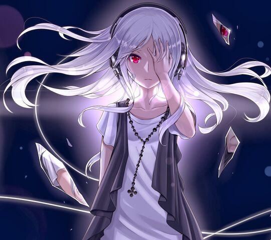 File:Headphones, long hair, red eyes, bandaids, white hair, anime girls, original characters, shattered glass.jpg