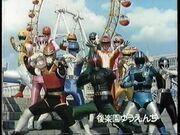 Turboranger with Kamen Rider Black RX, Jiban, Jiraya, Red Falcon, Yellow Lion, Red Mask, Pink Mask, Green Flash & Change Dragon
