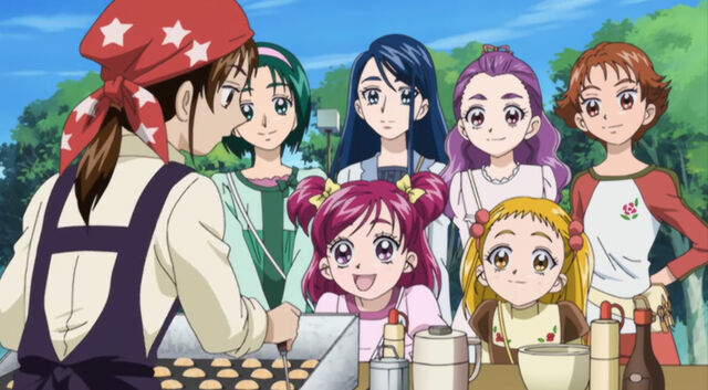 File:The Girls From precure 5 at the Tako Cafe.jpg