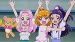 The three girls cheer in happiness