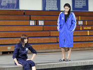Emily and paige at swim meet