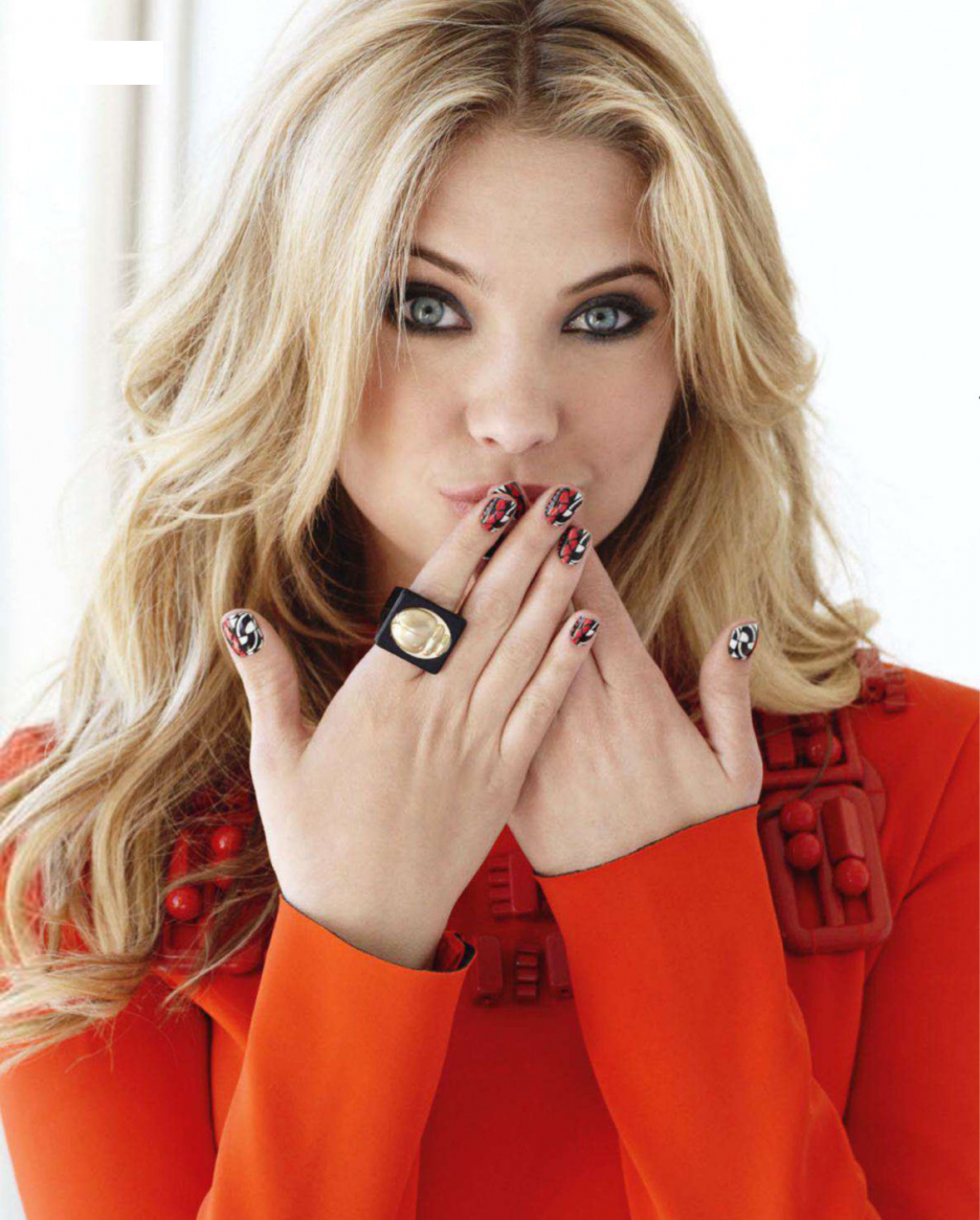 Ashley Benson in a red coat