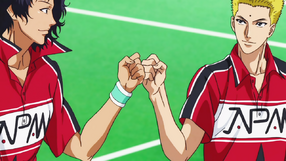 Chitose and Tachibana after drawing level in the Team Shuffle