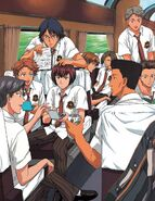 The whole Hyotei team on a train