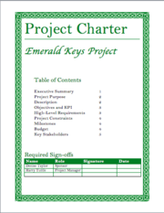 Project Charter Cover Sheet