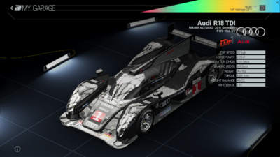Project Cars Garage - Audi r18 TDI