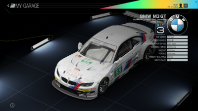 Project Cars Garage - BMW M3 GT