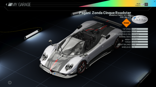 File:Project Cars Garage - Pagani Zonda Cinque Roadster.png