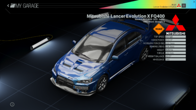 Project Cars Garage - Mitsubishi Lancer Evolution X FQ400