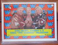 1987 WWF Wrestling Cards (Topps) Sticker Dino Bravo, Greg Valentine, Johnny Valentine 9