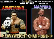 Flex Armstrong vs Chris Masters BTW Heavyweight title match promo card