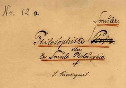 Manuscript philosophical fragments