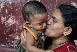 Sri Lankan woman and child